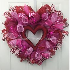 Deco Mesh Heart of Hearts Valentines Wreath, Pink and Red Valentine's Wreath, Heart shaped Valentines wreath, Heart Shaped Wreath by RhondasCre8iveCorner on Etsy