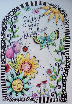Follow Your Bliss by Madeleine de Kemp--love the moon face and black and white border!