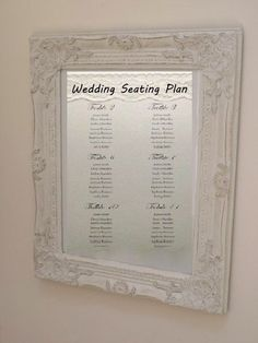 Shabby Chic White Wedding Seating Table Plan Frame Vintage Style Photo Frame