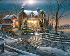 Terry Redlin - Crown Thy Good - America the Beautiful Series Complete colection of art, limited editions, prints, posters and custom framing on sale now at Prints. Christmas Scenes, Christmas Art, Vintage Christmas, Vintage Winter, Christmas Pictures, Beautiful Christmas, Christmas Holidays, Terry Redlin, Beautiful Series