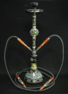 2 Hose Voski Hookah Blue & Turkish Traditional Handcrafted Big Size Copper Hookah / Water pipe ...