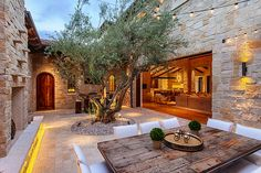 Patio courtyard win a tree in the middle - luxury outdoor living space with indoor outdoor area Outdoor Rooms, Outdoor Dining, Dining Area, Outdoor Retreat, Outdoor Patios, Outdoor Kitchens, Patio Dining, Indoor Outdoor, Dining Room