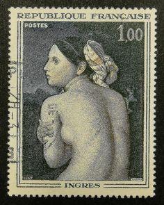 Beautiful Lady Ingres France -Framed Postage Stamp Art 13656
