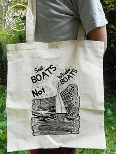 Sail Boats Not Whale Boats - Tote Bag - Canvas Beach Totes - Vegan Tote Bag - Reusable bag - Whale Gifts - Whaling - Sailing Gifts - Cotton Sailing Gifts, Beach Totes, Sail Boats, Reusable Bags, Canvas Tote Bags, Whale, Vegan, Trending Outfits, Cotton