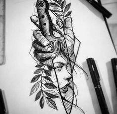 Ad flower tattoo designs, tattoo design drawings, tattoo sketches, flower t Koch Tattoo, Neotraditionelles Tattoo, Chef Tattoo, Knife Tattoo, Clown Tattoo, Tattoo Blog, Dark Art Tattoo, Tattoo Flash, Tattoo Design Drawings