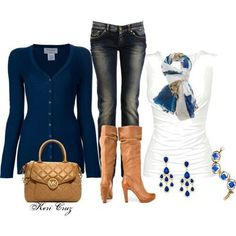 Navy blue and tan outfit