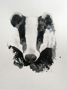 Watercolor badger