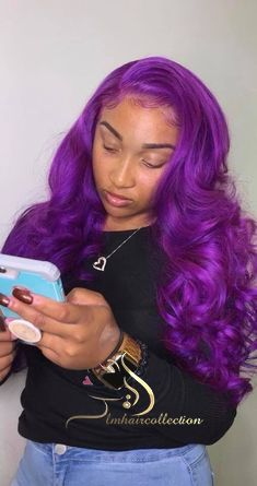 Want this look? Shop Rated Bougie Hair Co. One of our many Hairspiration! Purple Hair Black Girl, Dark Purple, Purple Wig, Light Purple, Bougie Hair, Colored Wigs, Colored Hair, Colored Weave, Curly Hair Styles