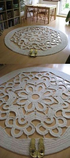 DIY - Tapete em crochê fora do banheiro DIY - Crochet rug outside the bathroom ⋆ From the Front To T Diy Crochet Rug, Crochet Carpet, Crochet Home Decor, Crochet Tablecloth, Crochet Crafts, Crochet Doilies, Diy Home Decor, Crochet Round, Crochet Flower