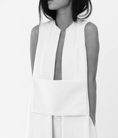 Modern Minimal Fashion - longline white vest with rectangle block panel; chic stye // Maria Van Nguyen