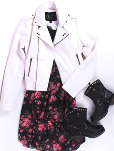 Floral dress with boots and white leather jacket