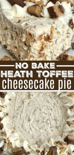 Toffee Cheesecake Pie is a cool and creamy no bake pie. Toffee cheesecake pie has a creamy cheesecake filling, and Heath candy bar pieces all inside an easy store-bought chocolate graham cracker crust. You will love how fast & easy it is to make. Keks Dessert, Dessert Oreo, Smores Dessert, Bon Dessert, Heath Bar Dessert, Appetizer Dessert, Desserts Nutella, Easy Desserts, Delicious Desserts