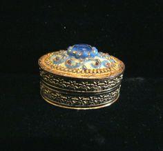 Jeweled Powder Box Compact Or Pill Box Blue