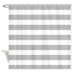 Gray and white Stripe Shower Curtain by InspirationzStore