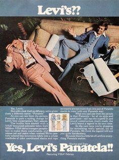 Men's Levi's Panatela ad from 1970s.
