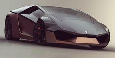"""Evoquant la silhouette de certains prototypes comme la Carabo Bertone ou la Lancia Stratos Zero, focus sur la """"Lamborghini Ganado"""", une intéressante étude de style autour d'un concept de supercar estampillé du blason au taureau …"""