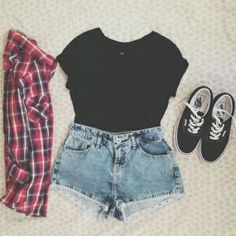 Faded blue jean cut offs//. Crop top with vans & simple flannel //