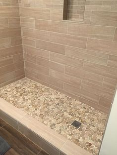 Sliced Java Tan Pebble Tile Shower Floor 2: