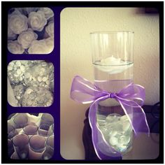 Easy and simple, but yet elegant centerpieces for a 1st communion.