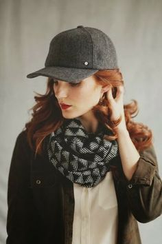 Check Scarve With Leather Jacket And Cap