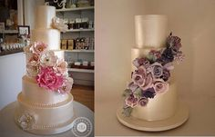 soft gold wedding cakes by Bobbette & Belle left and Cakesalouisa right
