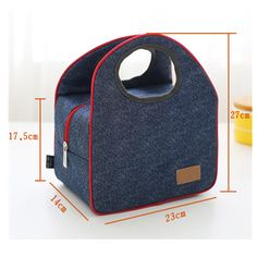 Fashion Portable Insulated Denim lunch Bag Thermal Food Picnic Bag for Women kids Men thermo Cooler Lunch Box Bag Leather Bags Handmade, Leather Craft, Cool Lunch Boxes, Neoprene, Picnic Bag, Bags For Teens, Bag Storage, Food Storage, Purse Patterns