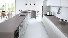 Caesarstone sleek concrete with white cabinets: