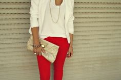 white tshirt, white blazer, red pants, gold clutch, gold jewelery