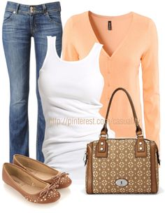 """Peach Cardigan & Denim"" by casuality ❤ liked on Polyvore"