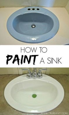 DIY Home Improvement On A Budget - Paint Your Old Sink - Easy and Cheap Do It Yourself Tutorials for Updating and Renovating Your House - Home Decor Tips and Tricks, Remodeling and Decorating Hacks - (Diy Bathroom On A Budget) Easy Home Decor, Cheap Home Decor, Diy Décoration, Easy Diy, Simple Diy, Diy Crafts, Home Improvement Projects, Home Projects, Quick Diy Projects For The Home