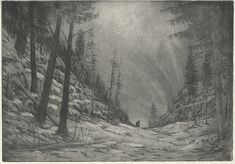 DIN etching (proof) for the poem Irrlicht of the Winterreise cycle. Snow, A3, Poem, Artwork, Painting, Outdoor, Travel, Art, Outdoors