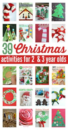 Christmas activities for 2 year olds & 3 year olds . Awesome and easy Christmas crafts for preschool. 39 Christmas activities for 2 year olds and 3 year olds. Noel Christmas, Christmas Crafts For Kids, Christmas Projects, Simple Christmas, Winter Christmas, Christmas Themes, Holiday Crafts, Holiday Fun, Christmas Decorations