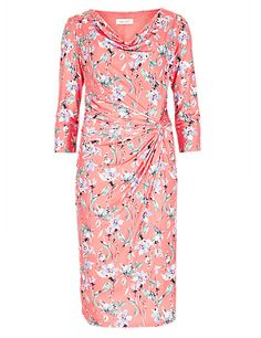 Floral Drape Shift Dress   M&S