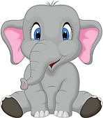 Clip Art of Cute Baby elephant k5993022 - Search Clipart, Illustration Posters, Drawings, and EPS Vector Graphics Images - k5993022.eps