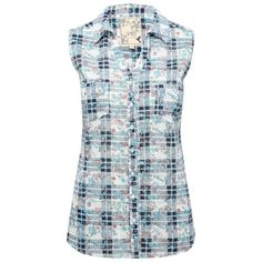 M&Co Floral Print Check Sleeveless Shirt (319.140 IDR) ❤ liked on Polyvore featuring tops, multicolour, blue floral top, blue top, checked shirt, blue collar shirt and blue checkered shirt