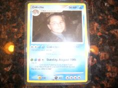 Pokemon card creator website- made it have invite wording and laminated it. Too cool!