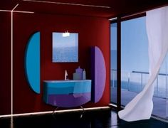 Here a simple but lavish color tone used in wall paint and interior as well. There is open windows on side and there is single white curtain placed and here its black marble floor and there is maroon wall paint and different geometrical style accessories attach to the wall and there is view from the window from outside.