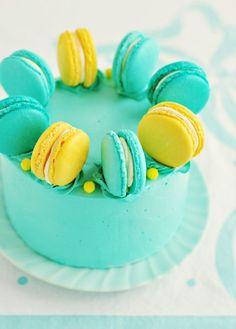 Lemon-Blueberry Macaron Delight Cake