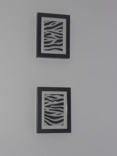 DIY zebra print pictures. Made both of these for only $2.