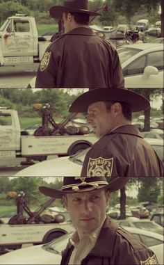 1st episode of the walking dead... He looks so young and inexperienced haha :3 not the Rick I know after season 4. :P
