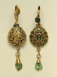 Earrings, 17th c, Morocco. Gold, enamel, pearl, emerald, ruby. The Metropolitan Museum of Art, New York. Gift of Marguerite McBey, 1981 (1981.5.16). #jewelry