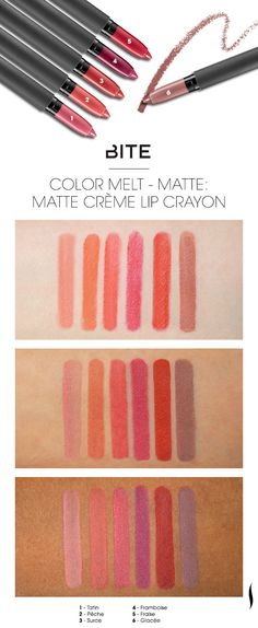 We swatched the shade range of Bite Beauty Matte Crème Lip Crayon on various skintones. Which caught your eye? #Sephora