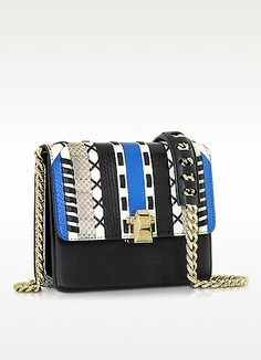 Roberto Cavalli | Hera Ayers and Smooth Leather Patchwork Small Flap Shoulder Bag at FORZIERI