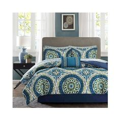 Nepal Comforter and Sheet Set ($56) ❤ liked on Polyvore featuring home, bed & bath, bedding, bed sheets, blue, twin bed linens, blue bedding, cotton twin sheet set, embroidered sheet set and twin bedding