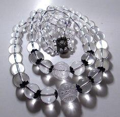 Chinese necklace pools of light rock crystal silver filigree Wang Hing enamel