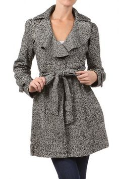 90 percent Polyester 10 percent Wool 1S/1M/1L Per Pack Gray (shown) This HIGH QUALITY jacket is VERY CUTE!! Made from a warm and comfy fabric, this long sleeve tweed jacket with a ruffled neckline,button tab at cuffs,inner lining,and a waist tie closure fits true to size.