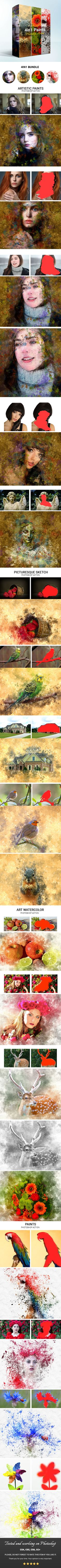 4in1 #Paints #Photoshop #Action - Photo Effects Actions