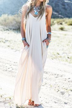 Spaghetti Strap Solid Color Sleeveless Maxi Dress