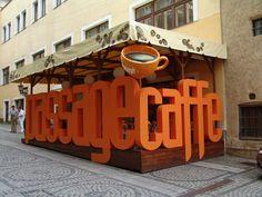 Passage_Caffe by mousek on DeviantArt Wayfinding Signage, Signage Design, Cafe Design, Environmental Graphics, Environmental Design, Stand Design, Booth Design, Architectural Signage, Container Cafe
