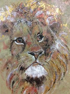 Proud lion in mixed media